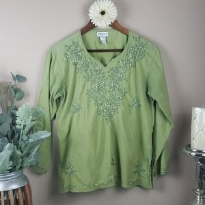 Boho gypsy green embroidered blouse from india lg